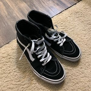 black and white high top vans size 8 women's